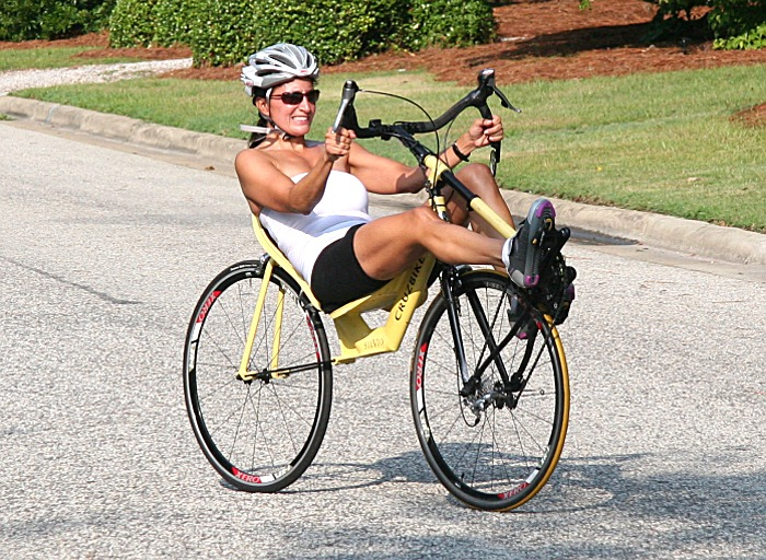 Maria riding Cruzbike Silvio recumbent