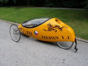 The rear part of czech amphibian velomobile which is probably the nicest amphibian human powered vehicle I have ever seen