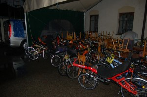It was raining almost all the time so during the night many racers slept and their bikes were parked outside. You can see many recumbents here.